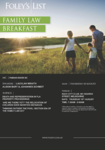 Foley's List Family Law Breakfast Flyer